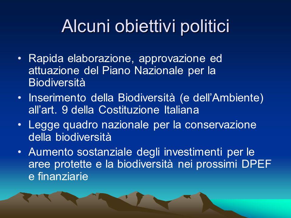 Alcuni obiettivi politici