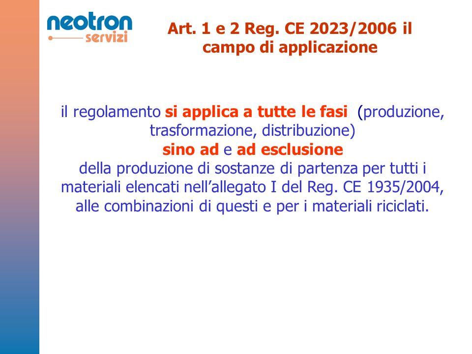 Art. 1 e 2 Reg. CE 2023/2006 il campo di applicazione