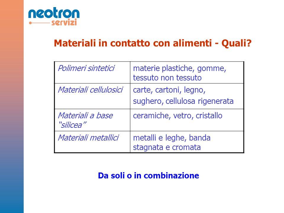 Materiali in contatto con alimenti - Quali