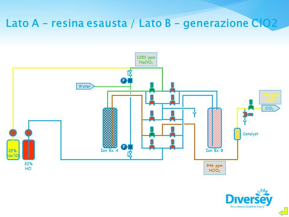 Lato A – resina esausta / Lato B – generazione ClO2