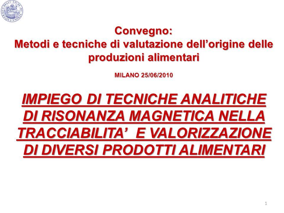 Convegno: Metodi e tecniche di valutazione dell'origine delle produzioni alimentari. MILANO 25/06/2010.
