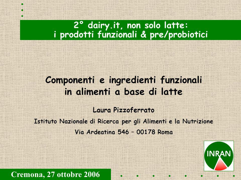 Componenti e ingredienti funzionali in alimenti a base di latte