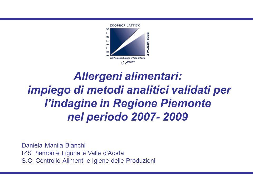 Allergeni alimentari: impiego di metodi analitici validati per l'indagine in Regione Piemonte nel periodo 2007- 2009