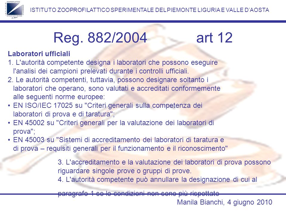Reg. 882/2004 art 12 Laboratori ufficiali