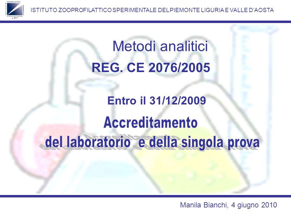del laboratorio e della singola prova