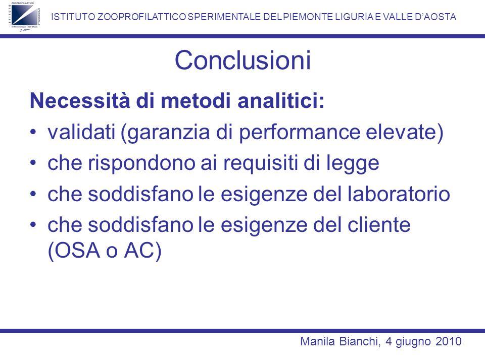 Conclusioni Necessità di metodi analitici: