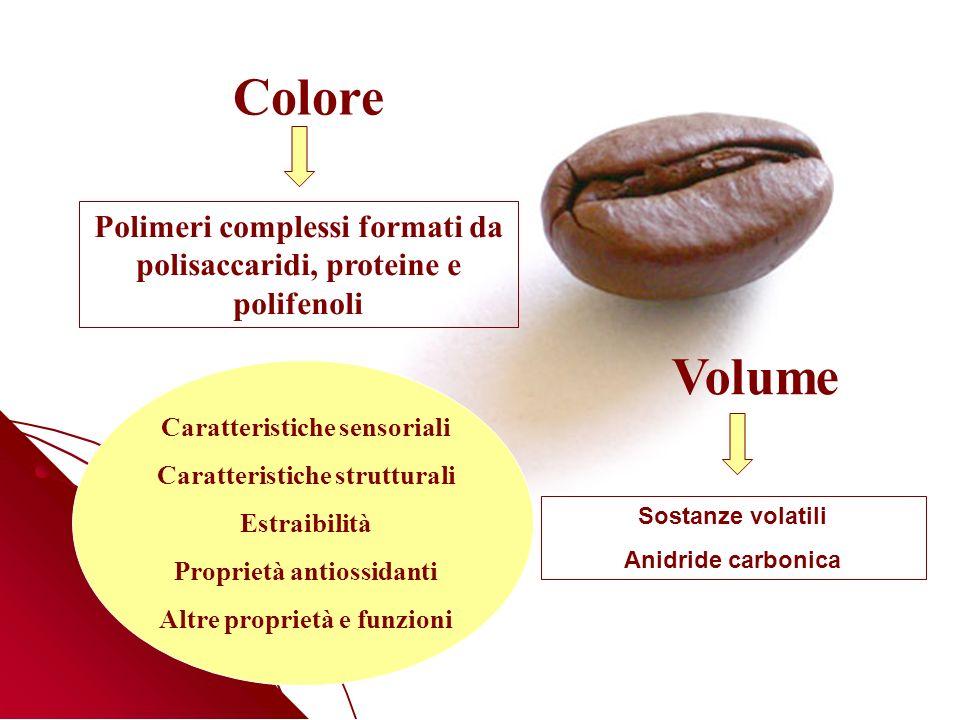 Colore Polimeri complessi formati da polisaccaridi, proteine e polifenoli. Volume. Caratteristiche sensoriali.