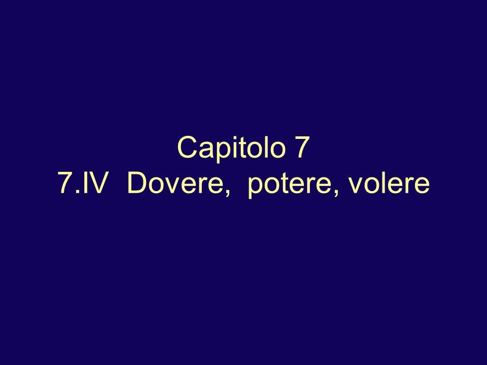 Capitolo 7 7.IV Dovere, potere, volere