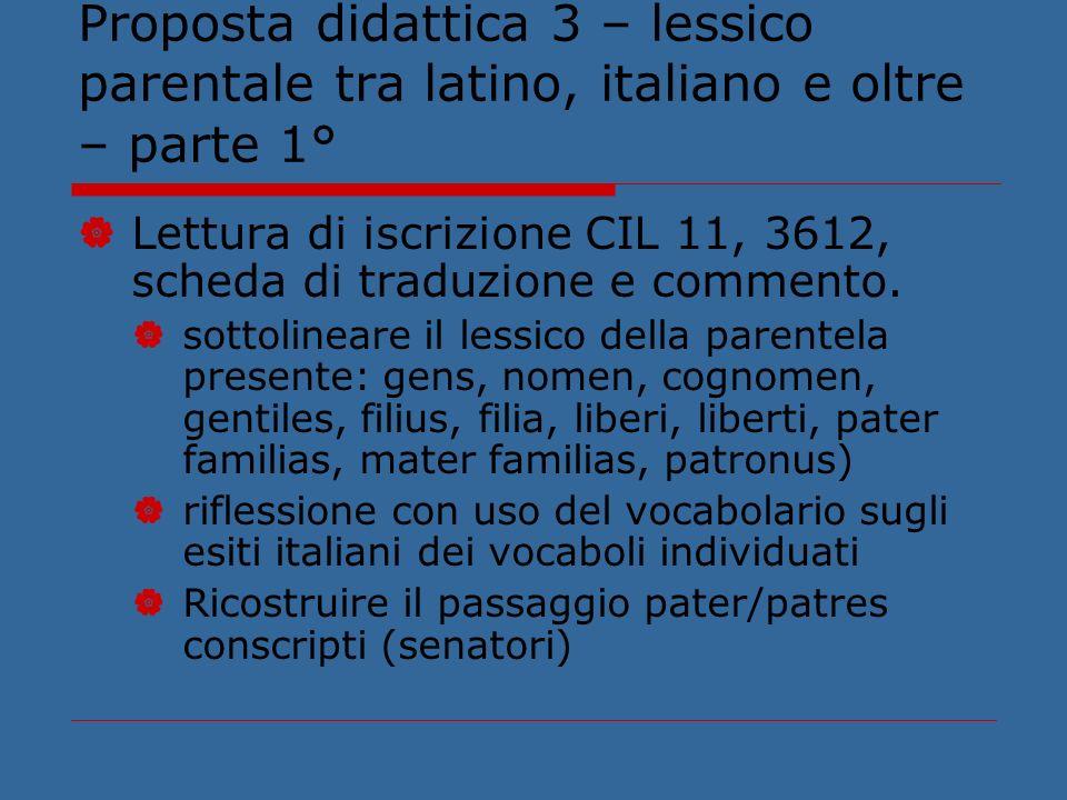Proposta didattica 3 – lessico parentale tra latino, italiano e oltre – parte 1°
