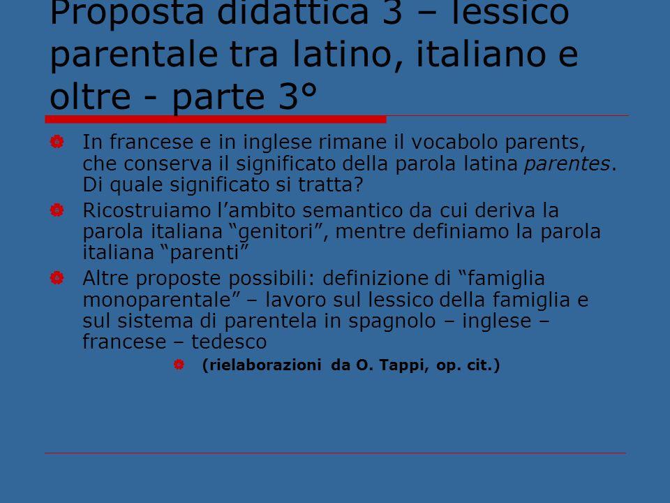 Proposta didattica 3 – lessico parentale tra latino, italiano e oltre - parte 3°