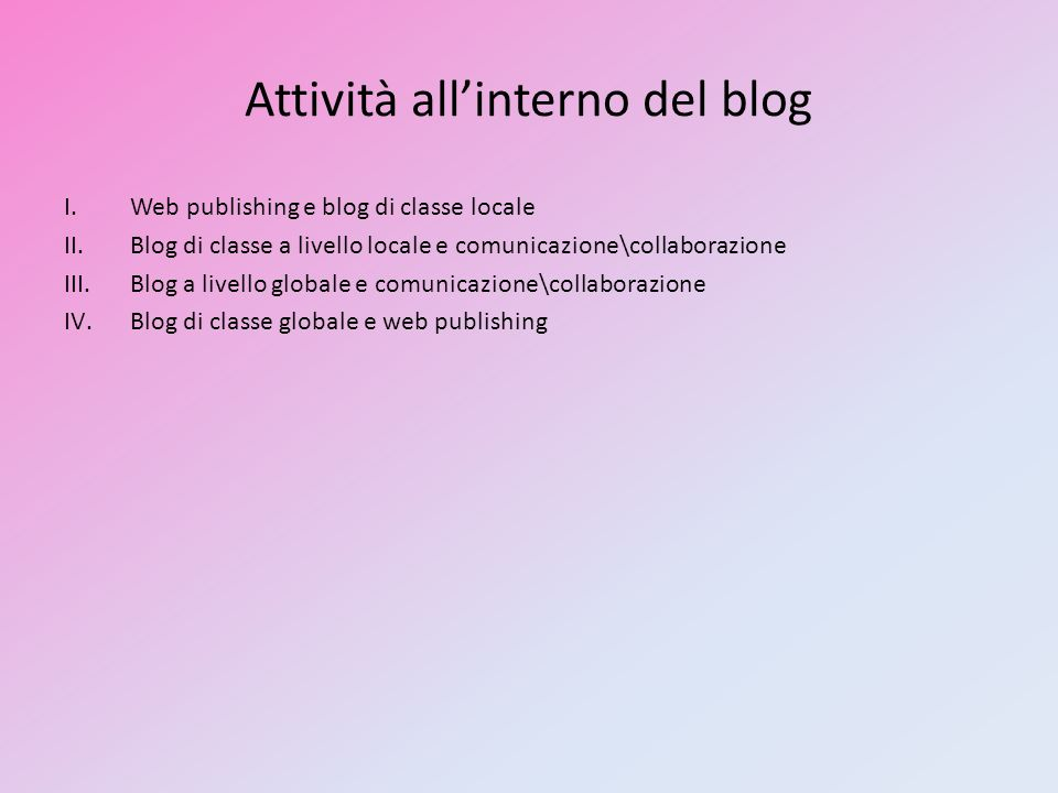 Attività all'interno del blog