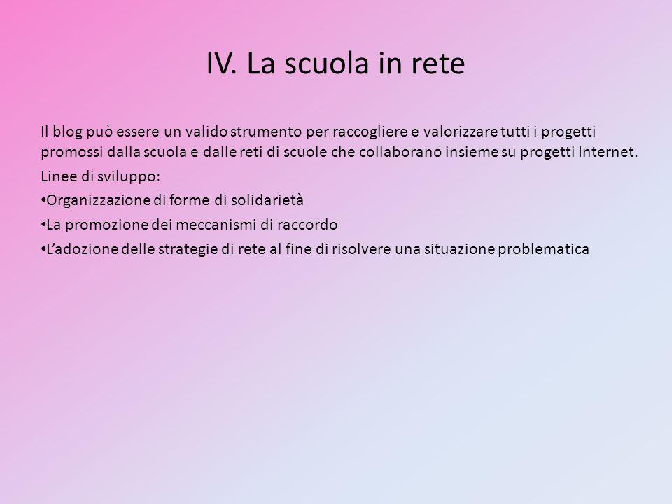 IV. La scuola in rete