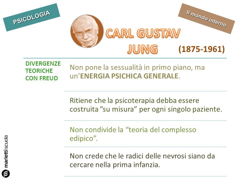 CARL GUSTAV JUNG. (1875-1961) DIVERGENZE TEORICHE CON FREUD. Non pone la sessualità in primo piano, ma un'ENERGIA PSICHICA GENERALE.