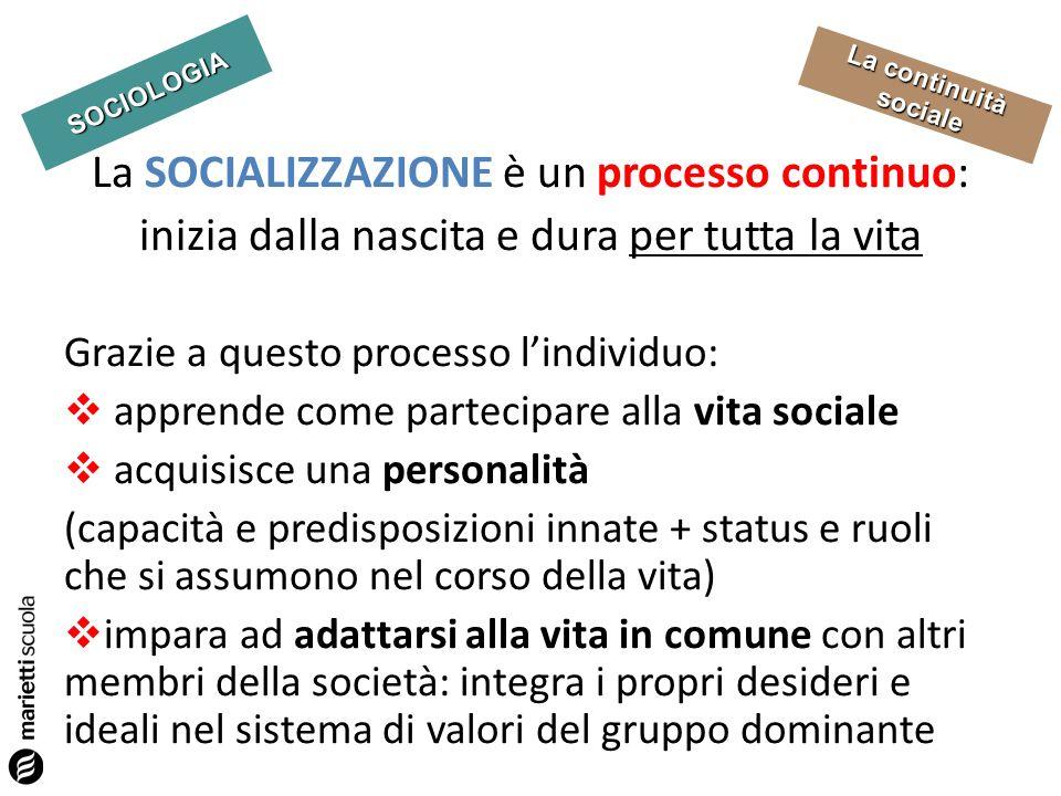 La SOCIALIZZAZIONE è un processo continuo: inizia dalla nascita e dura per tutta la vita
