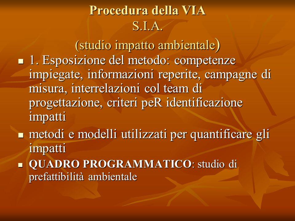 Procedura della VIA S.I.A. (studio impatto ambientale)
