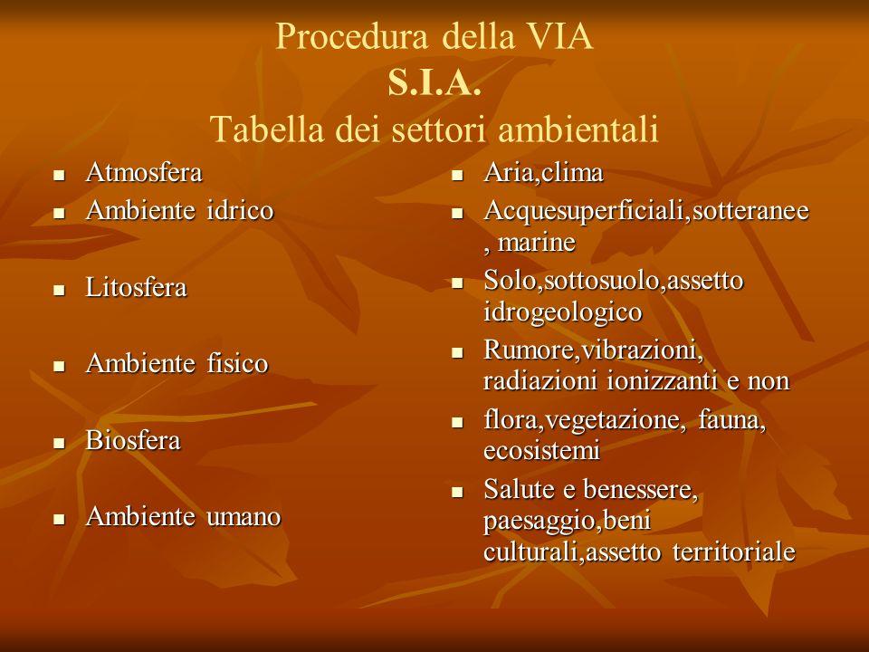 Procedura della VIA S.I.A. Tabella dei settori ambientali