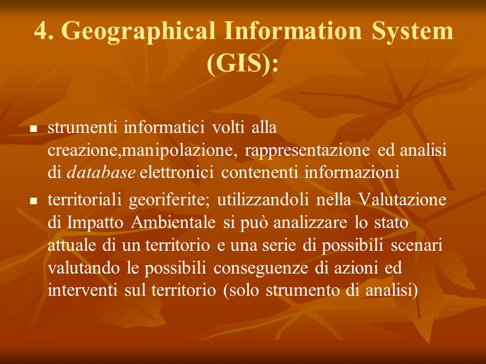 4. Geographical Information System (GIS):