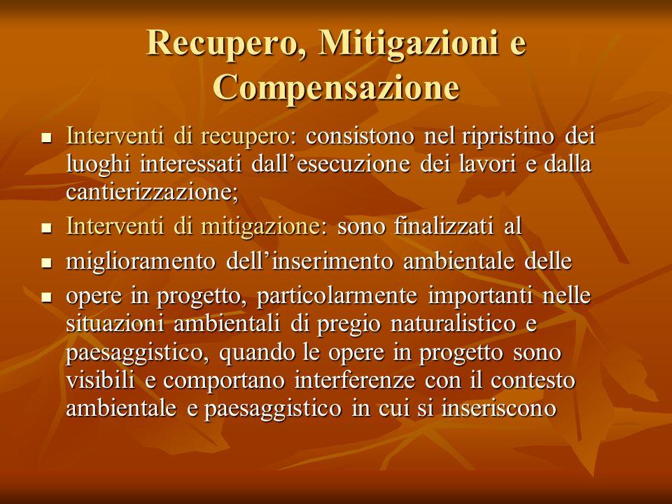 Recupero, Mitigazioni e Compensazione
