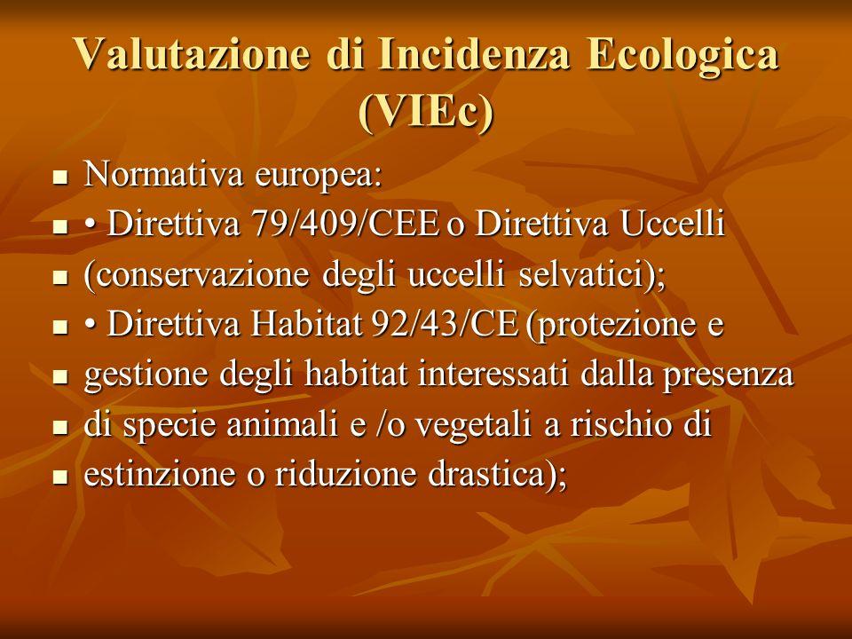 Valutazione di Incidenza Ecologica (VIEc)