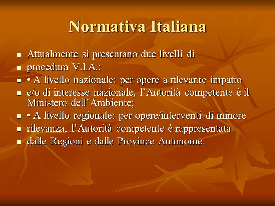 Normativa Italiana Attualmente si presentano due livelli di