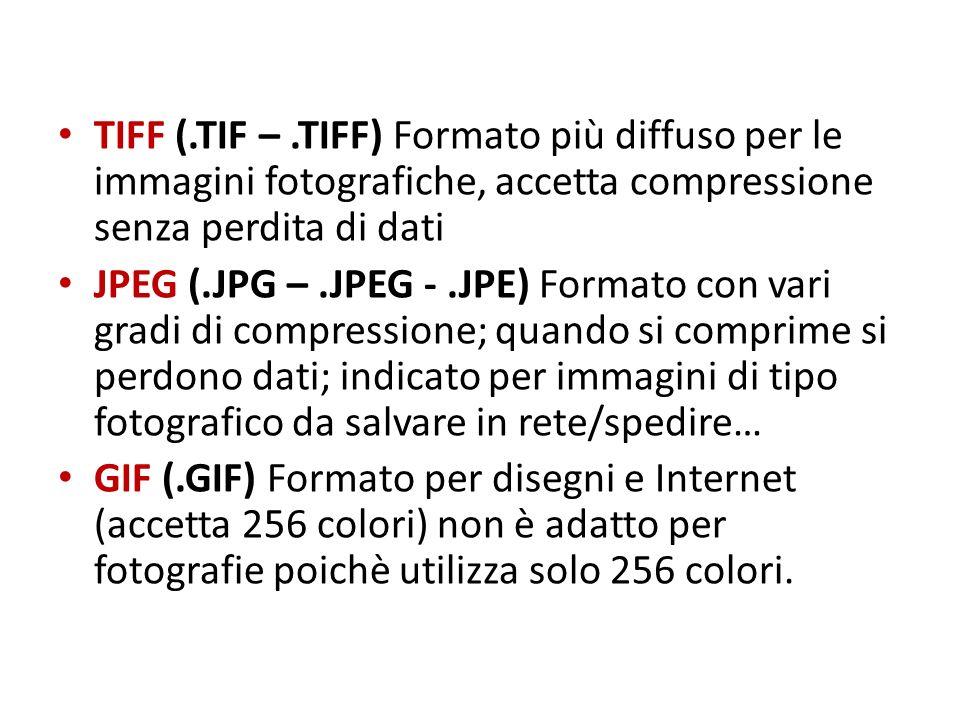 TIFF (.TIF – .TIFF) Formato più diffuso per le immagini fotografiche, accetta compressione senza perdita di dati