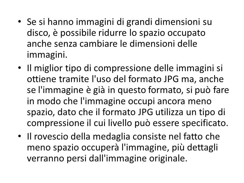 Se si hanno immagini di grandi dimensioni su disco, è possibile ridurre lo spazio occupato anche senza cambiare le dimensioni delle immagini.