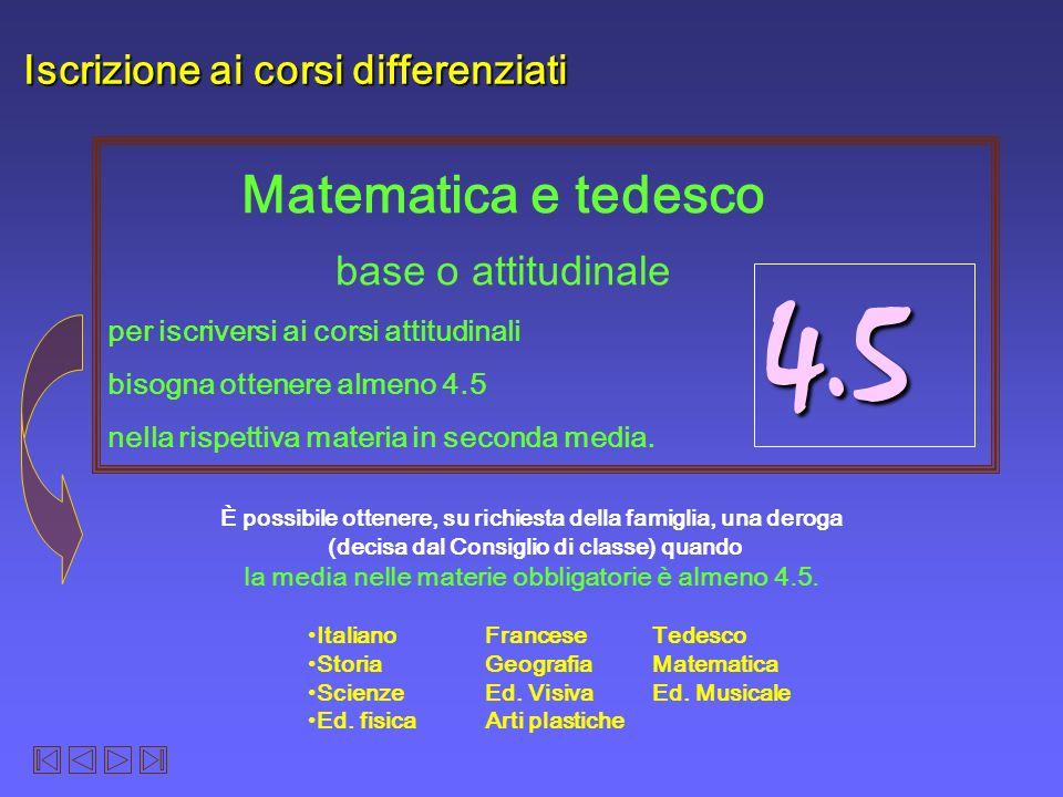 4.5 Matematica e tedesco Iscrizione ai corsi differenziati