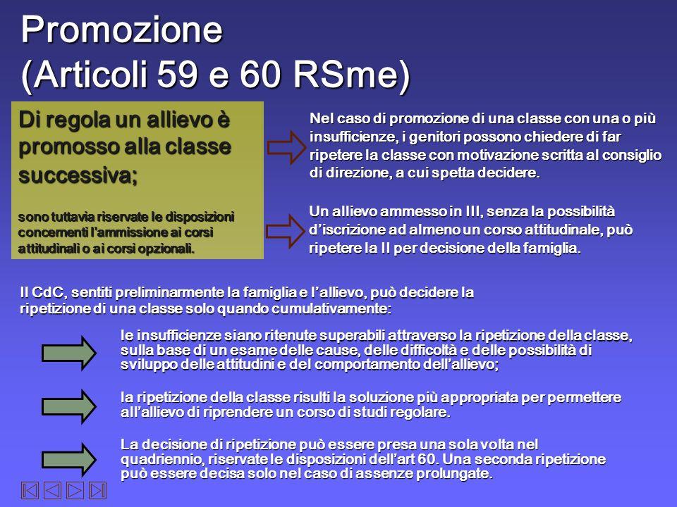 Promozione (Articoli 59 e 60 RSme)