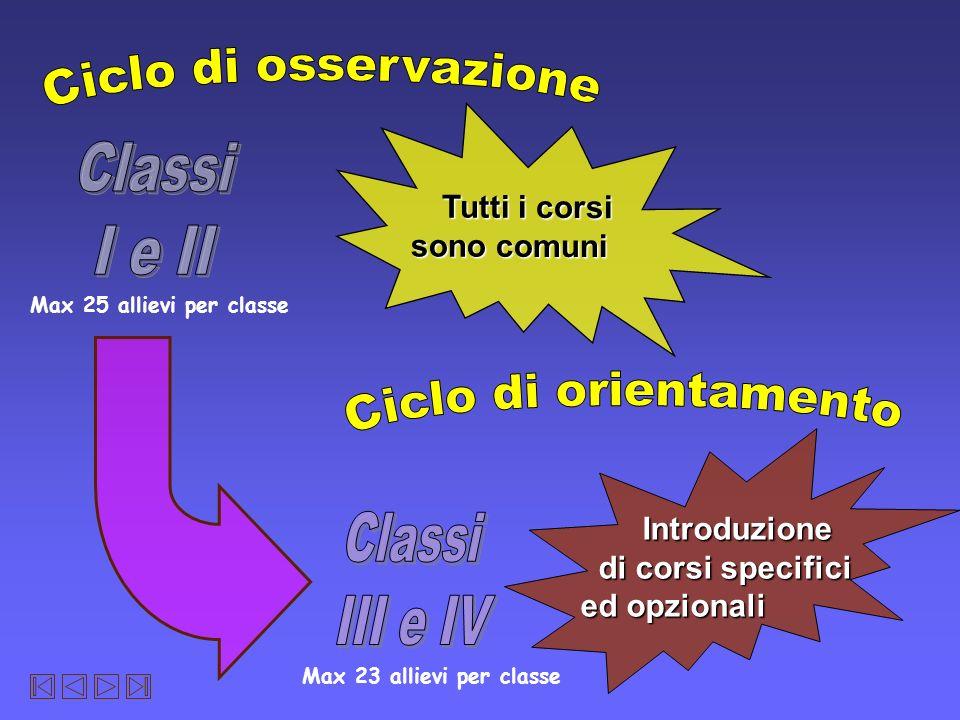 Ciclo di osservazione Classi I e II Ciclo di orientamento Classi