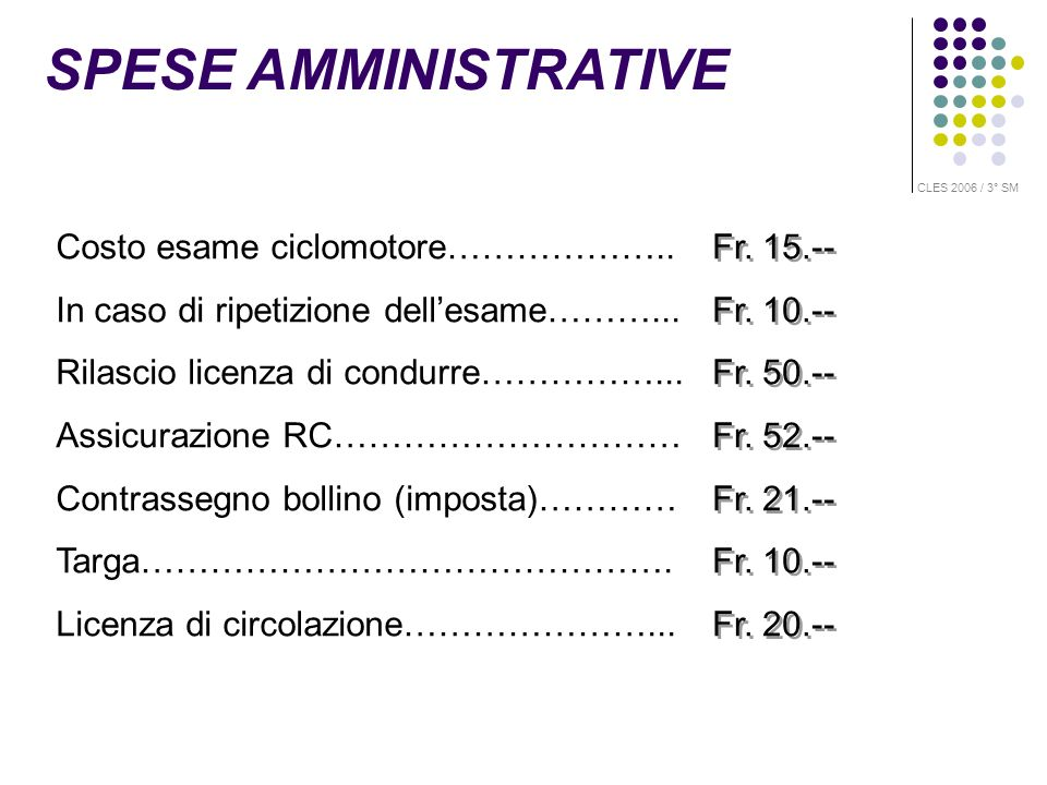 SPESE AMMINISTRATIVE Costo esame ciclomotore………………..