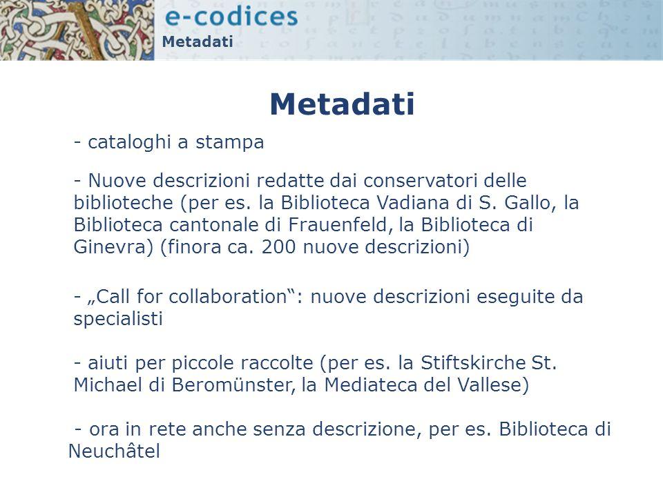 Metadati - cataloghi a stampa