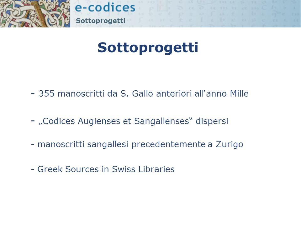 Sottoprogetti - 355 manoscritti da S. Gallo anteriori all'anno Mille