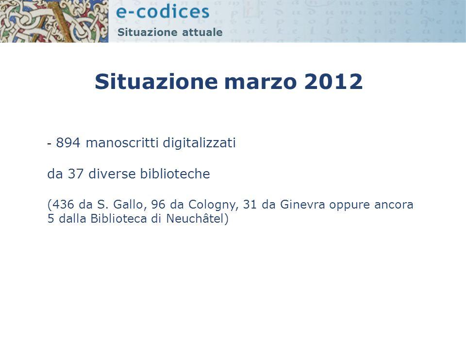 Situazione marzo 2012 894 manoscritti digitalizzati