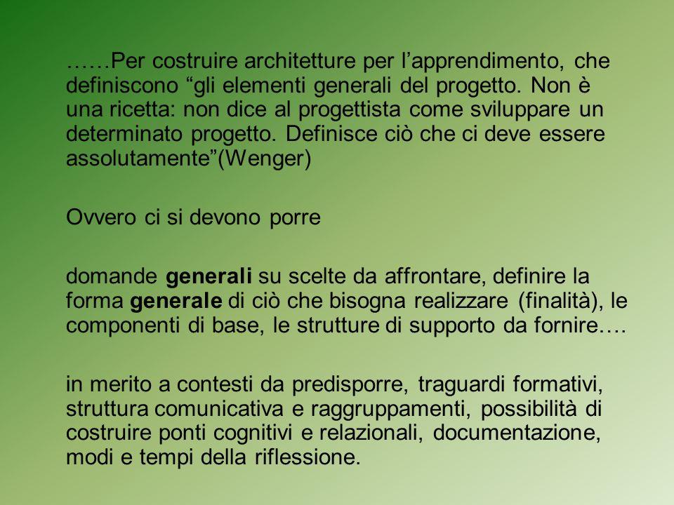 ……Per costruire architetture per l'apprendimento, che definiscono gli elementi generali del progetto. Non è una ricetta: non dice al progettista come sviluppare un determinato progetto. Definisce ciò che ci deve essere assolutamente (Wenger)