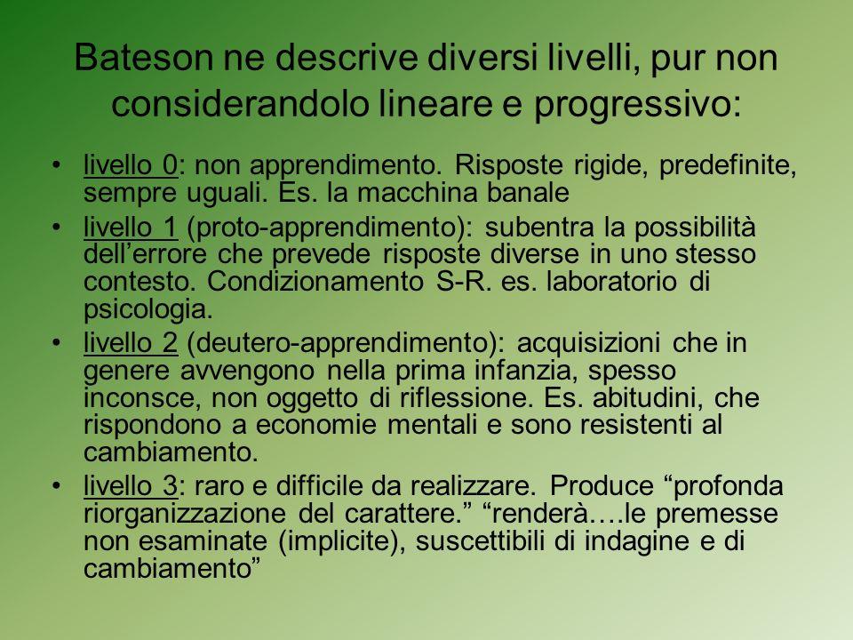 Bateson ne descrive diversi livelli, pur non considerandolo lineare e progressivo: