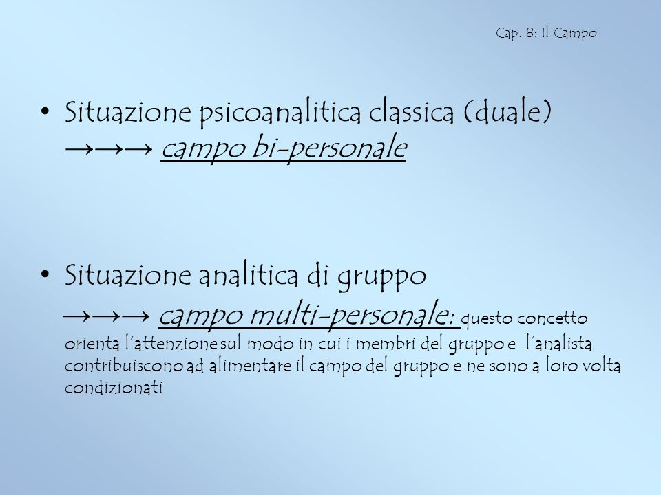 Situazione psicoanalitica classica (duale) →→→ campo bi-personale