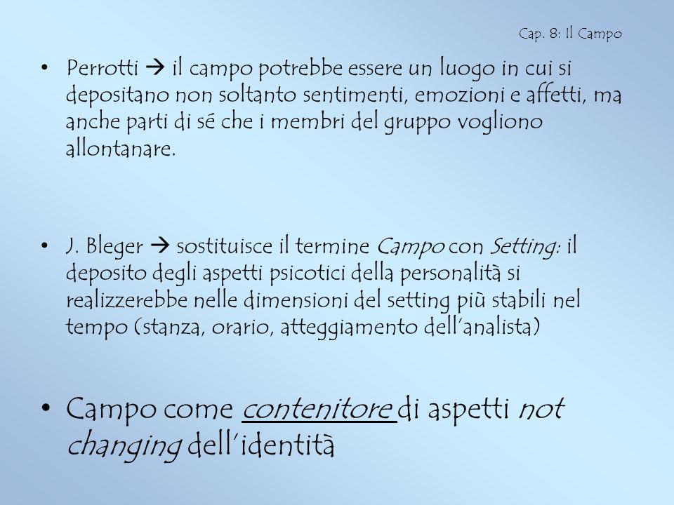 Campo come contenitore di aspetti not changing dell'identità