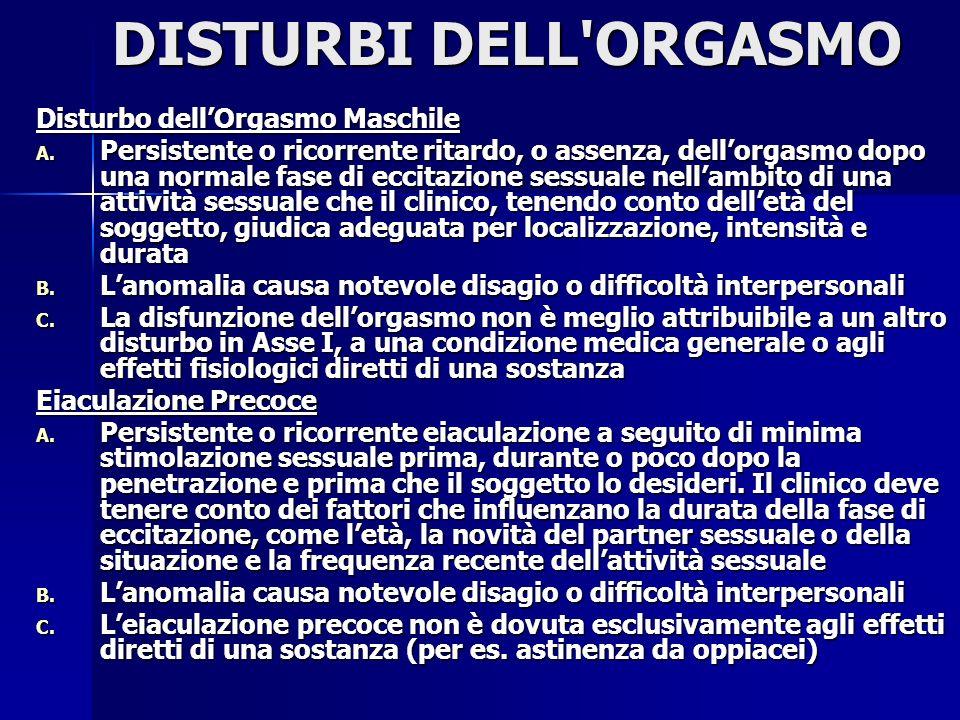 DISTURBI DELL ORGASMO Disturbo dell'Orgasmo Maschile
