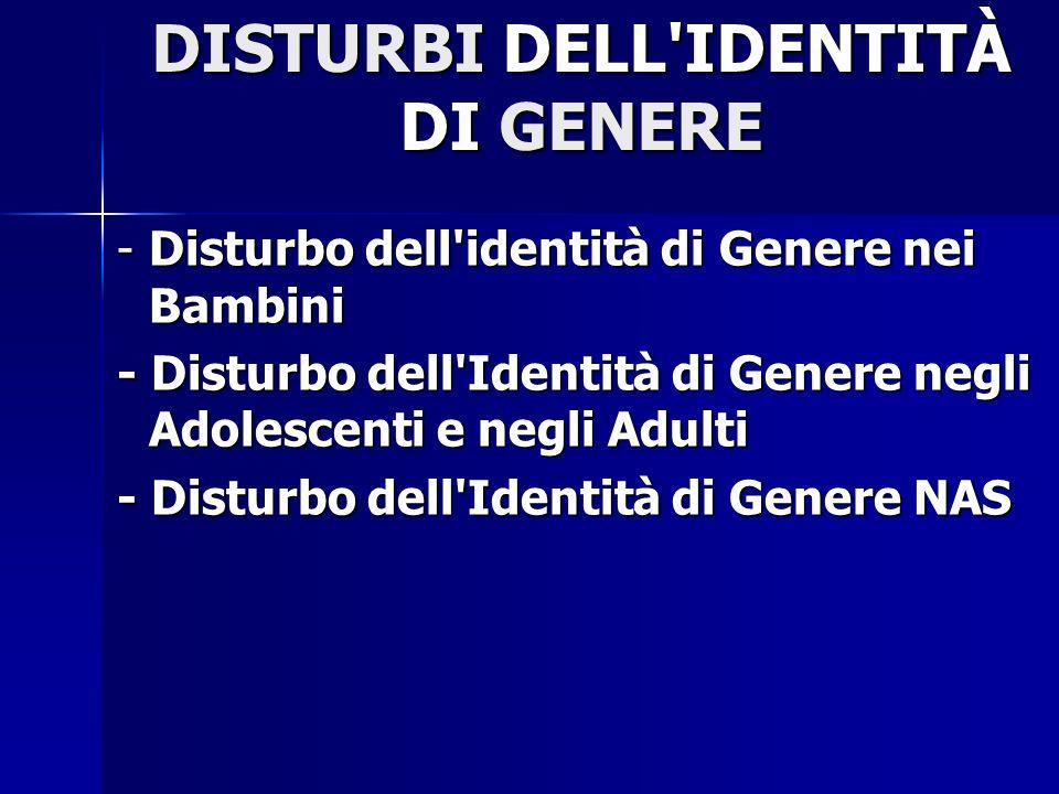 DISTURBI DELL IDENTITÀ DI GENERE