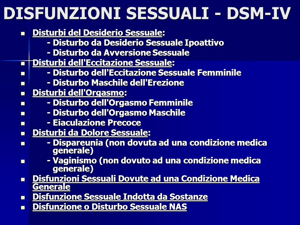 DISFUNZIONI SESSUALI - DSM-IV