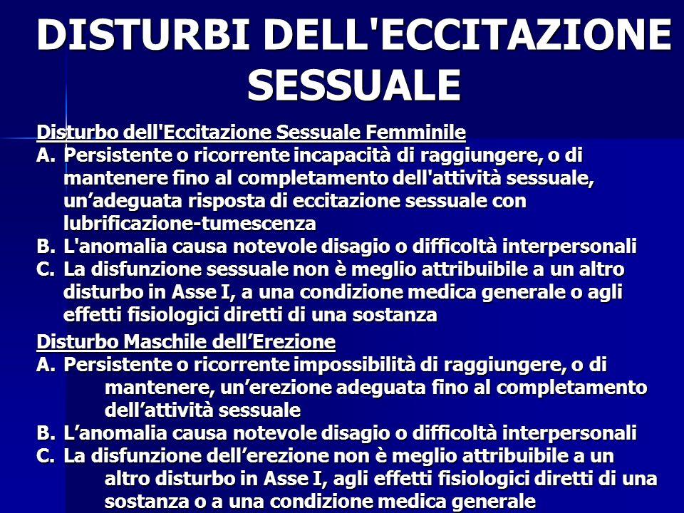 DISTURBI DELL ECCITAZIONE SESSUALE
