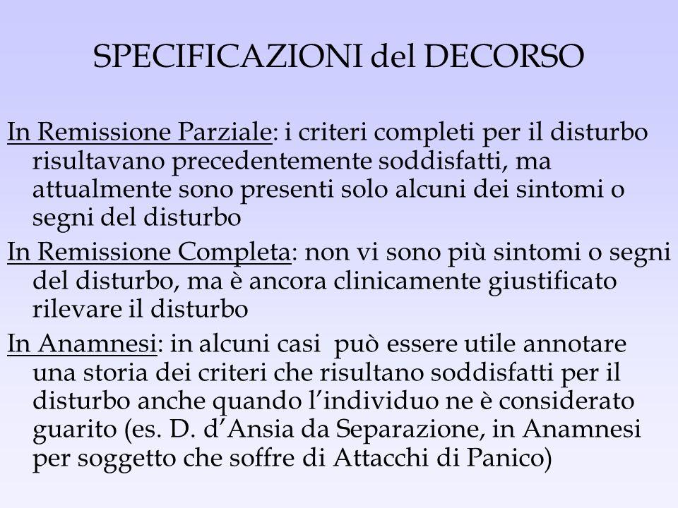 SPECIFICAZIONI del DECORSO