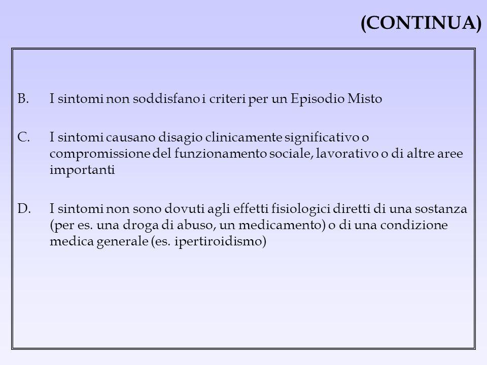 (CONTINUA) B. I sintomi non soddisfano i criteri per un Episodio Misto