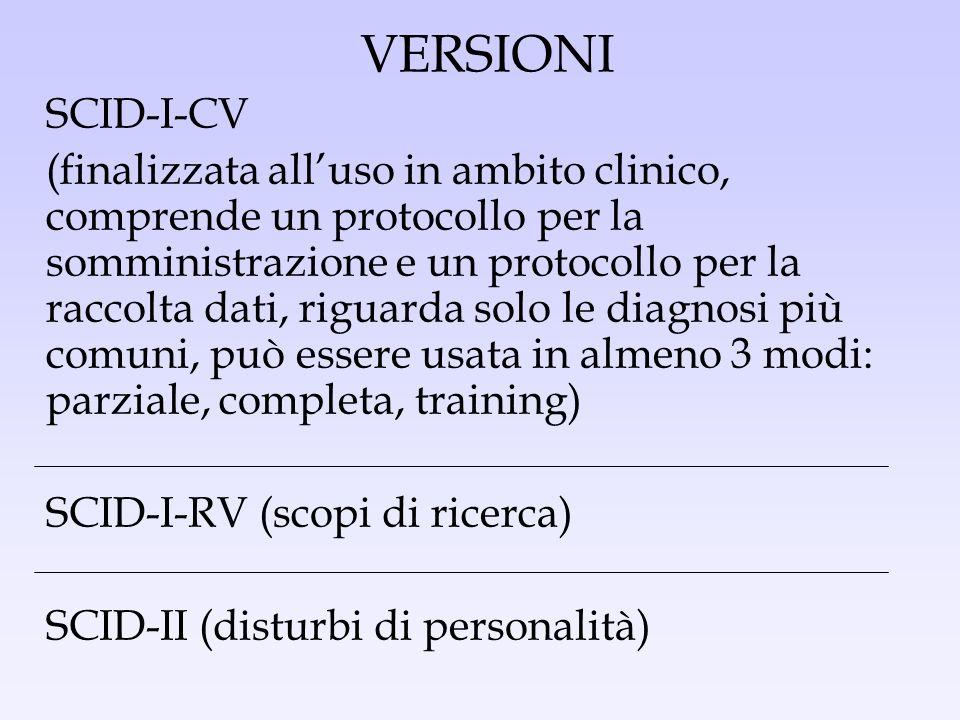 VERSIONI SCID-I-CV.