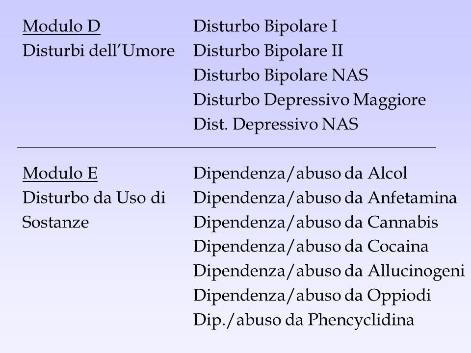 Modulo D Disturbo Bipolare I