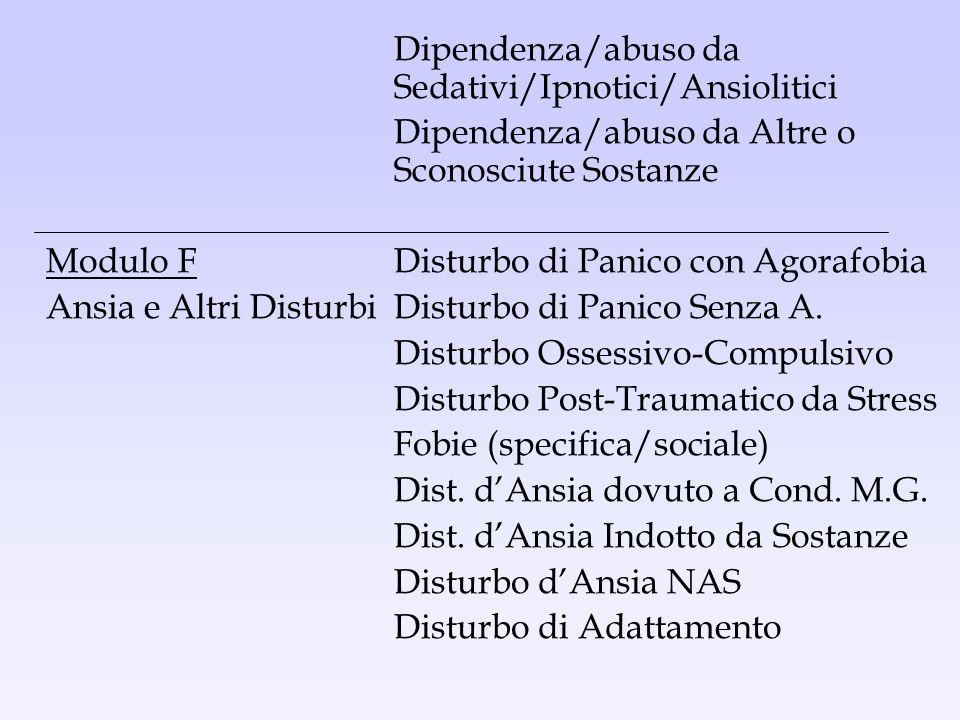 Dipendenza/abuso da Sedativi/Ipnotici/Ansiolitici
