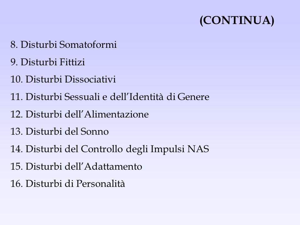 (CONTINUA) 8. Disturbi Somatoformi 9. Disturbi Fittizi