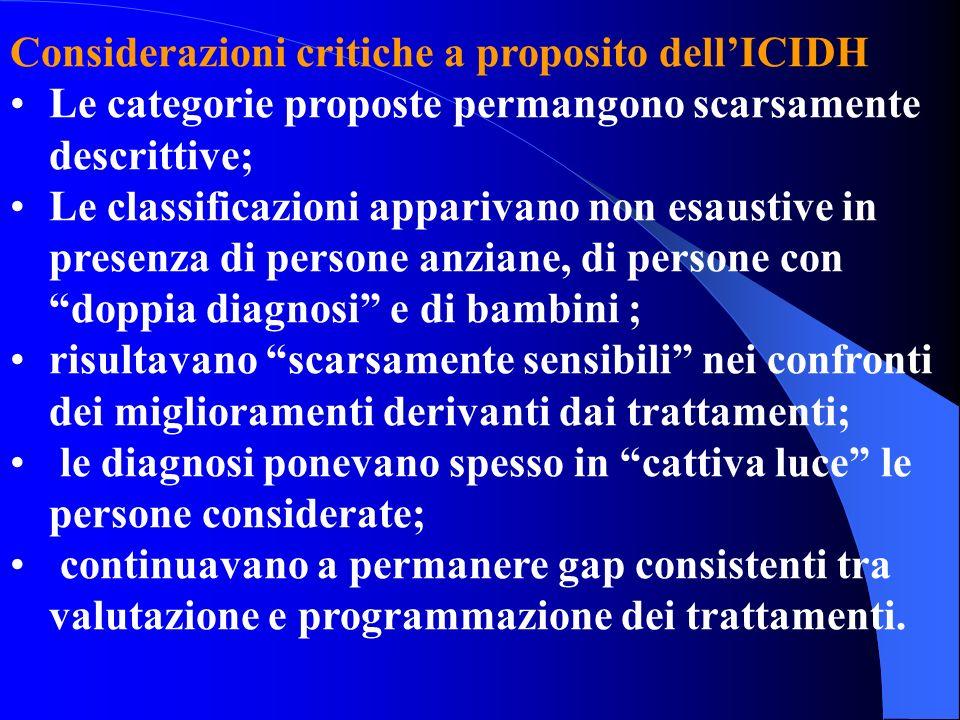 Considerazioni critiche a proposito dell'ICIDH