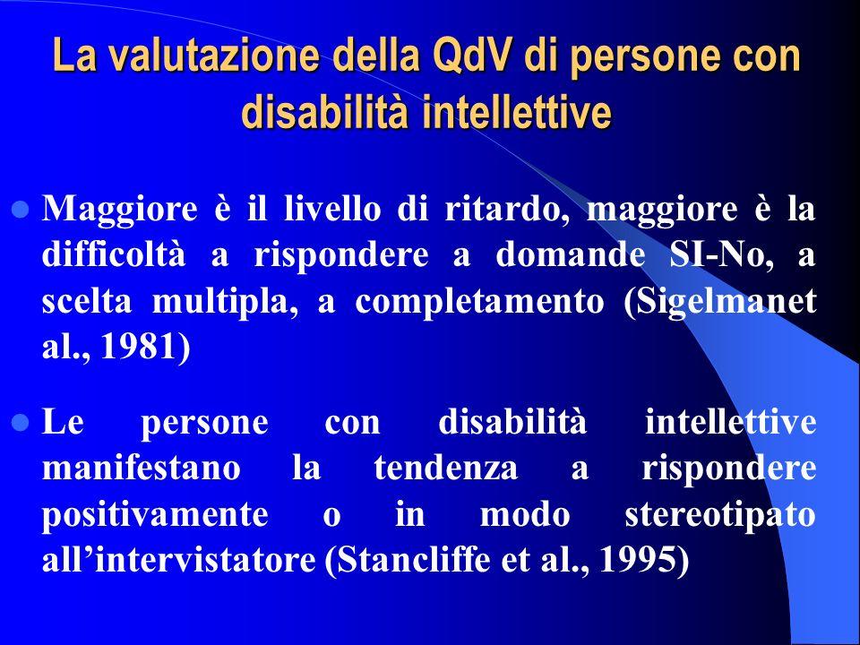 La valutazione della QdV di persone con disabilità intellettive