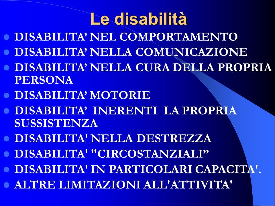 Le disabilità DISABILITA' NEL COMPORTAMENTO